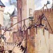 Medieval castle under siege