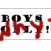 Boy's Only sign with Why? painted on it