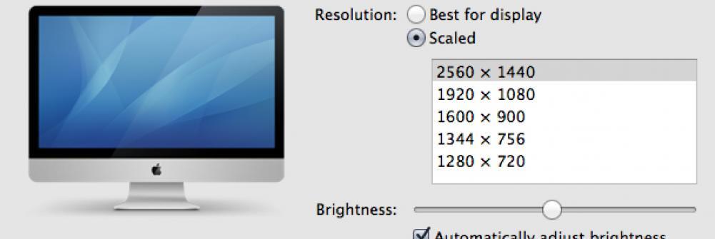 OSX screen resolution